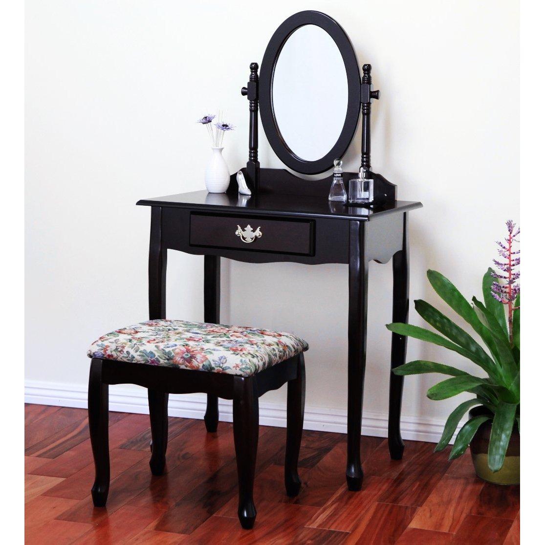 Vanity Tables with Oval Mirror: Cherry Finish Vanity Set