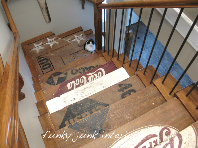 Old crate styled stairway, featured on Funky Junk's Crazy for Crates themed link party