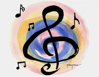 Dibujo de nota musical con colores de fondo