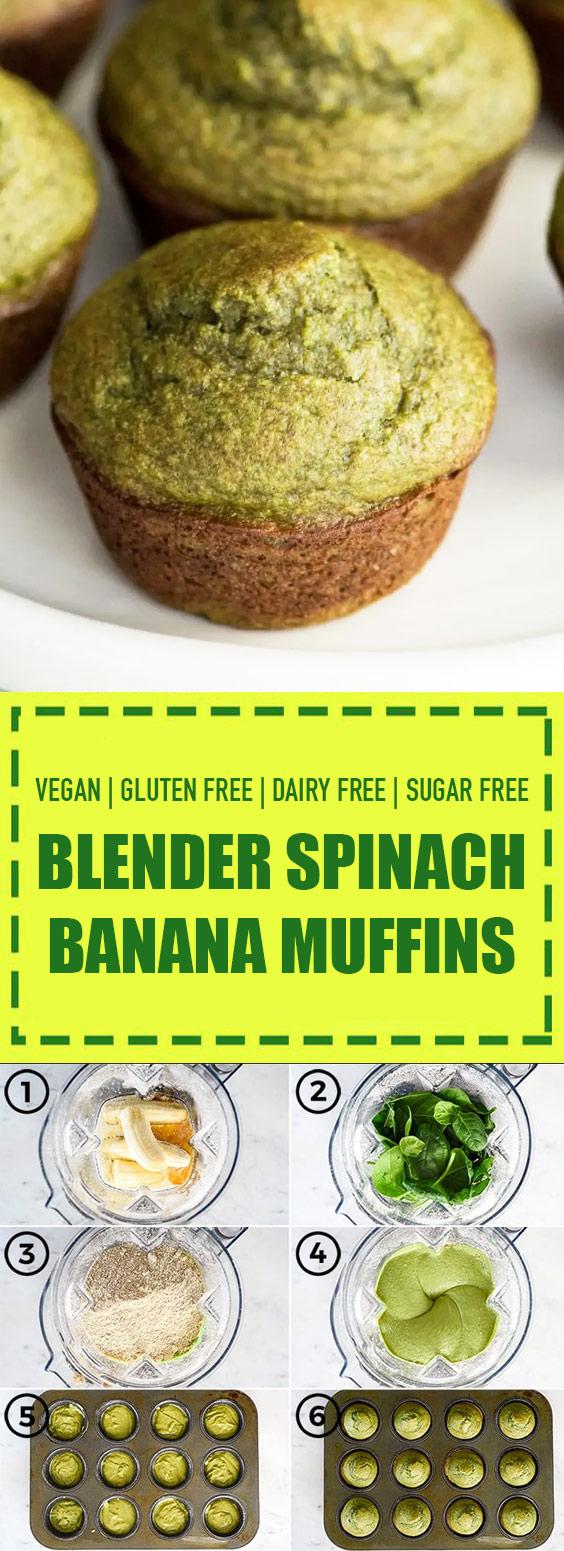 Gluten Free + Sugar Free Blender Spinach Banana Muffins