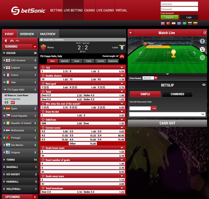 Betsonic Live Betting Screen