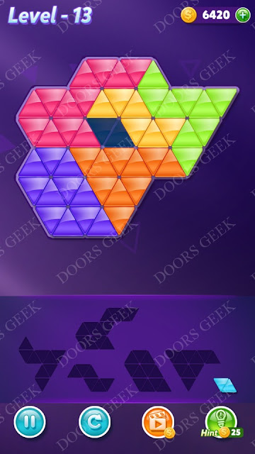 Block! Triangle Puzzle Intermediate Level 13 Solution, Cheats, Walkthrough for Android, iPhone, iPad and iPod