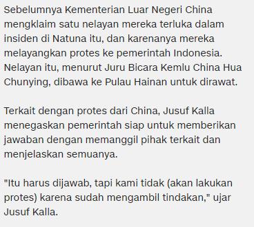 Wakil Presiden Republik Indonesia Jusuf Kalla : Penembakan Kapal China Oleh TNI Angkatan Laut Itu Hanya Peringatan ! - Commando