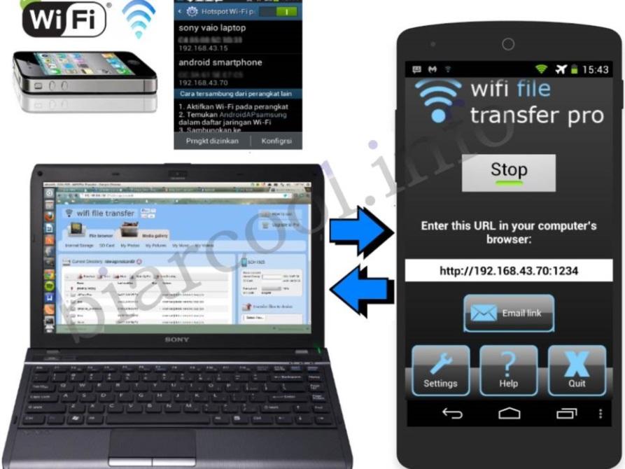 cara kerja aplikasi wifi transfer pro koneksi antara 2 perangkat laptop dan smartphone via wifi thetering android