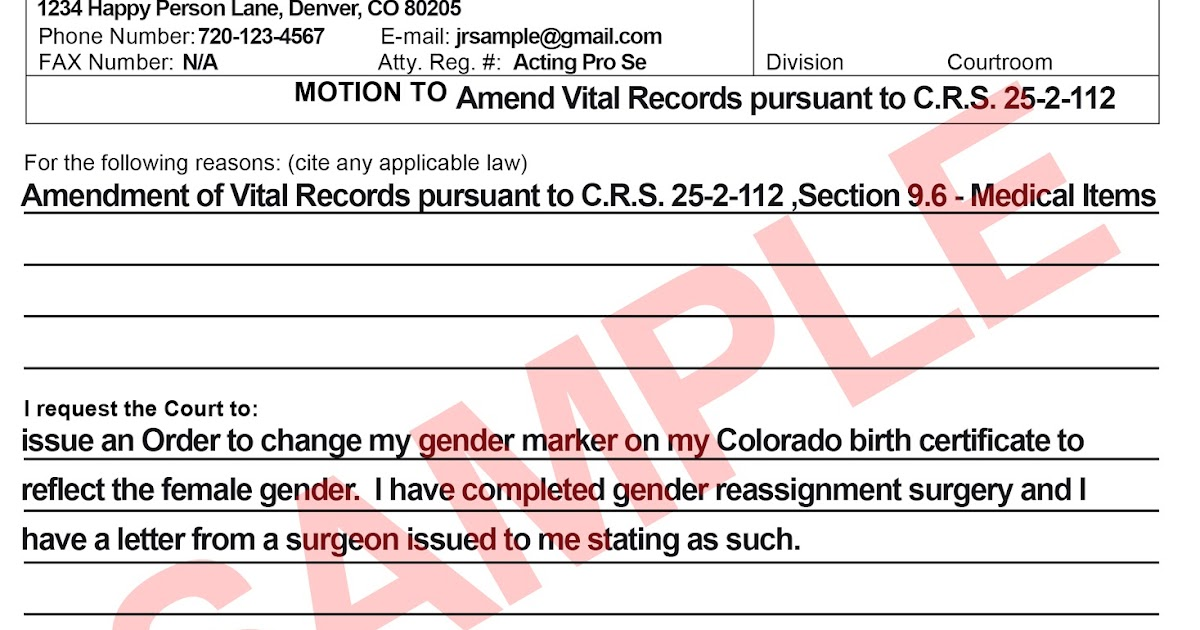 Colorado Transgender Information Blog: Birth Certificates