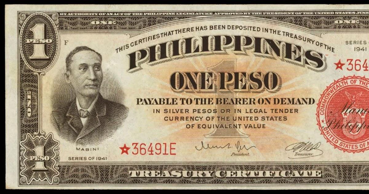 Philippines One Peso Treasury Certificate 1941 World