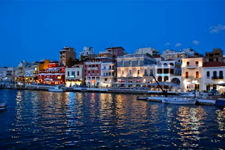 Harbor in Evening Agios Nikoloas Crete Greece
