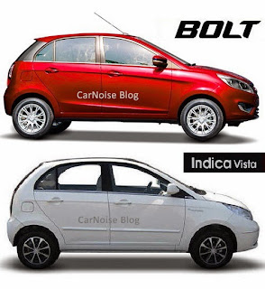Exterior Side View: Tata Bolt versus Tata Indica Vista Compared