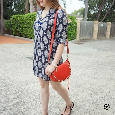 awayfromblue instagram navy printed shift dress Zara with red Rebecca Minkoff saddle bag