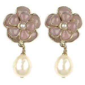 CHANEL CC Camelia Pearl Earrings