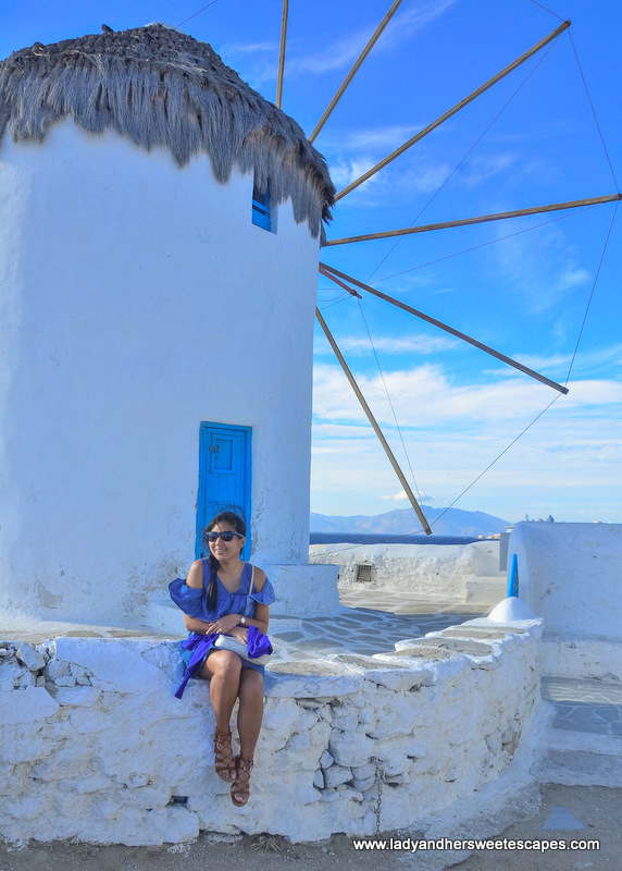 Lady in Mykonos windmills
