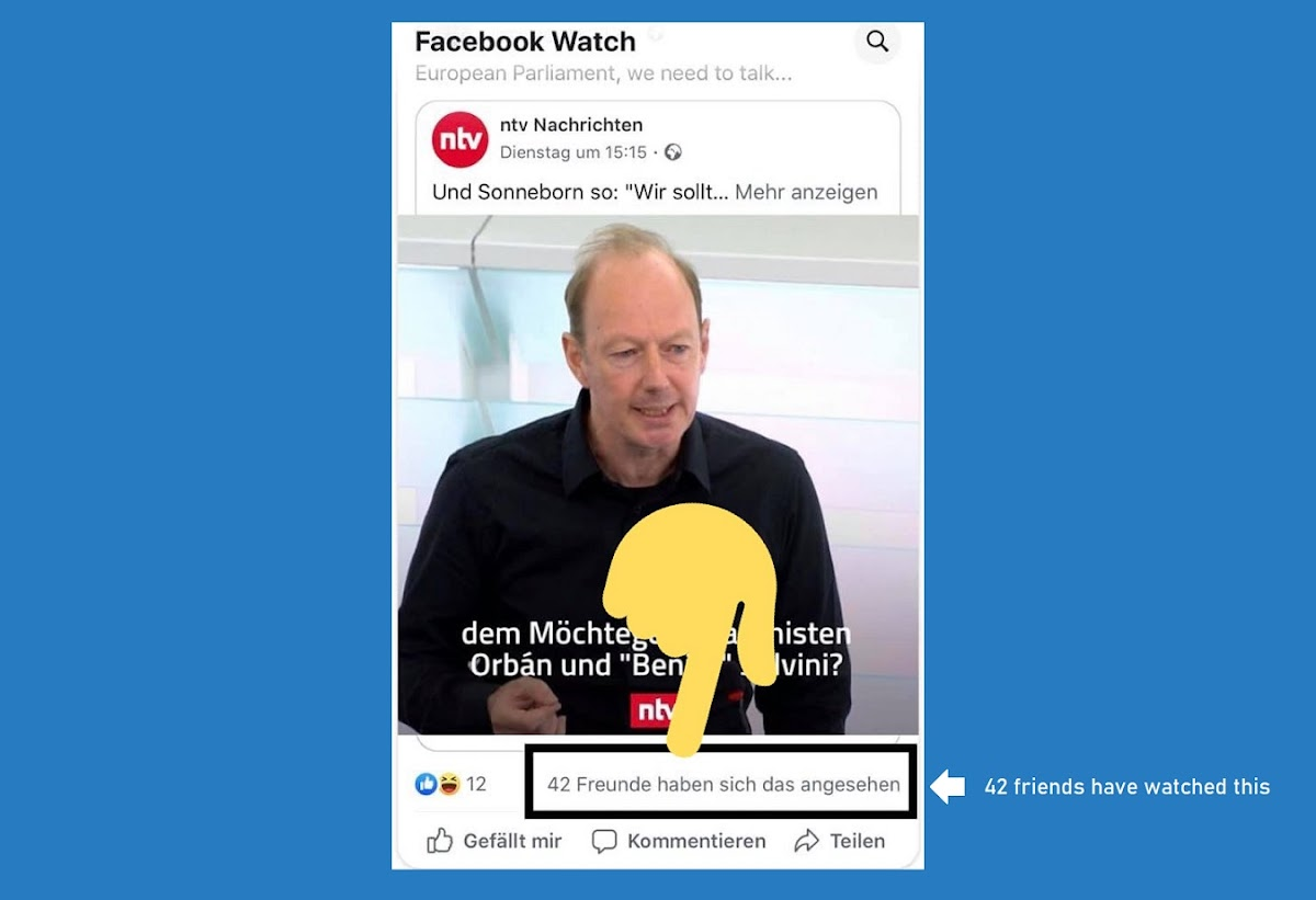 Facebook now shows how many of your friends viewed a video ins Watch section. An effective 'Social proof' technique to nudge you into watching more content.
