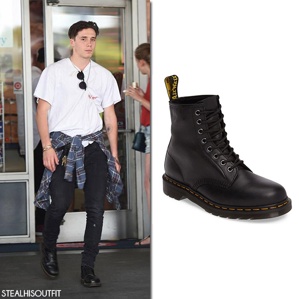 Brooklyn Beckham in black Dr Martens boots