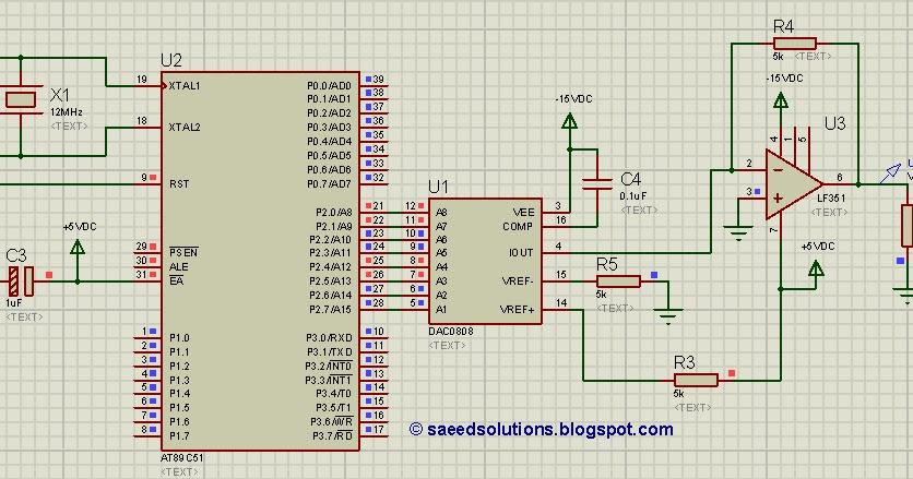 8051 DAC (using DAC0808) code  Proteus simulation | Saeed