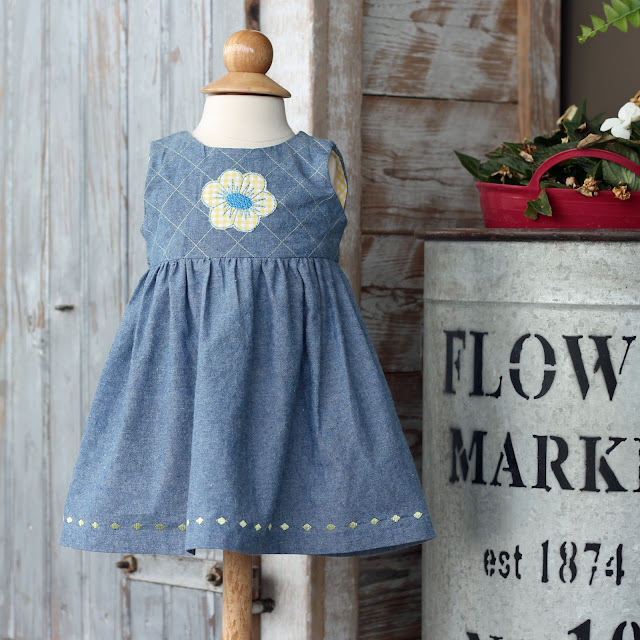 Simplicity 1701 chambray dress with embroidery and decorative stitches using the Pfaff Creative Icon