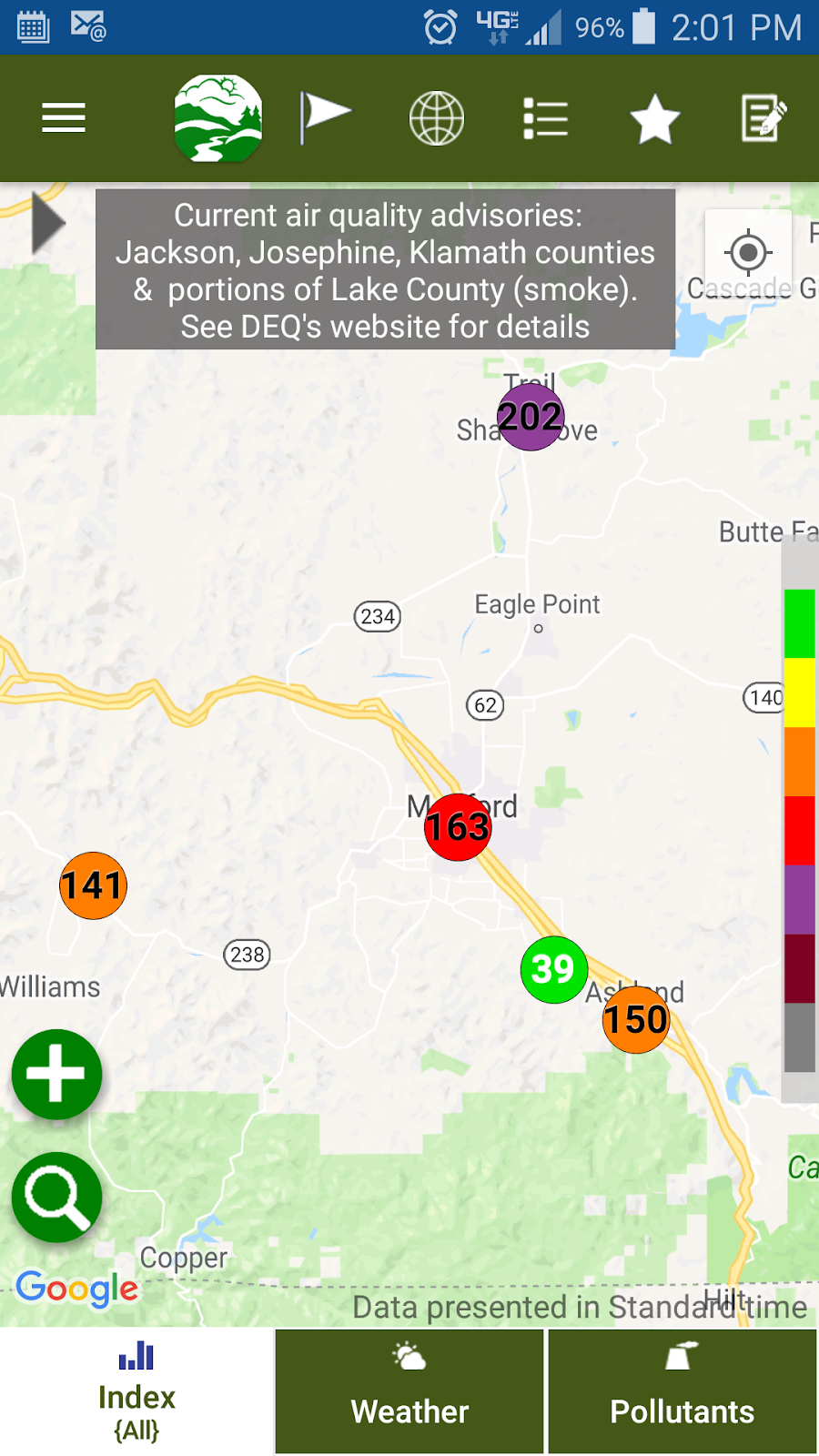 when air quality in the rogue valley is unhealthy we tend to hear the following question a lot why is that one monitor green