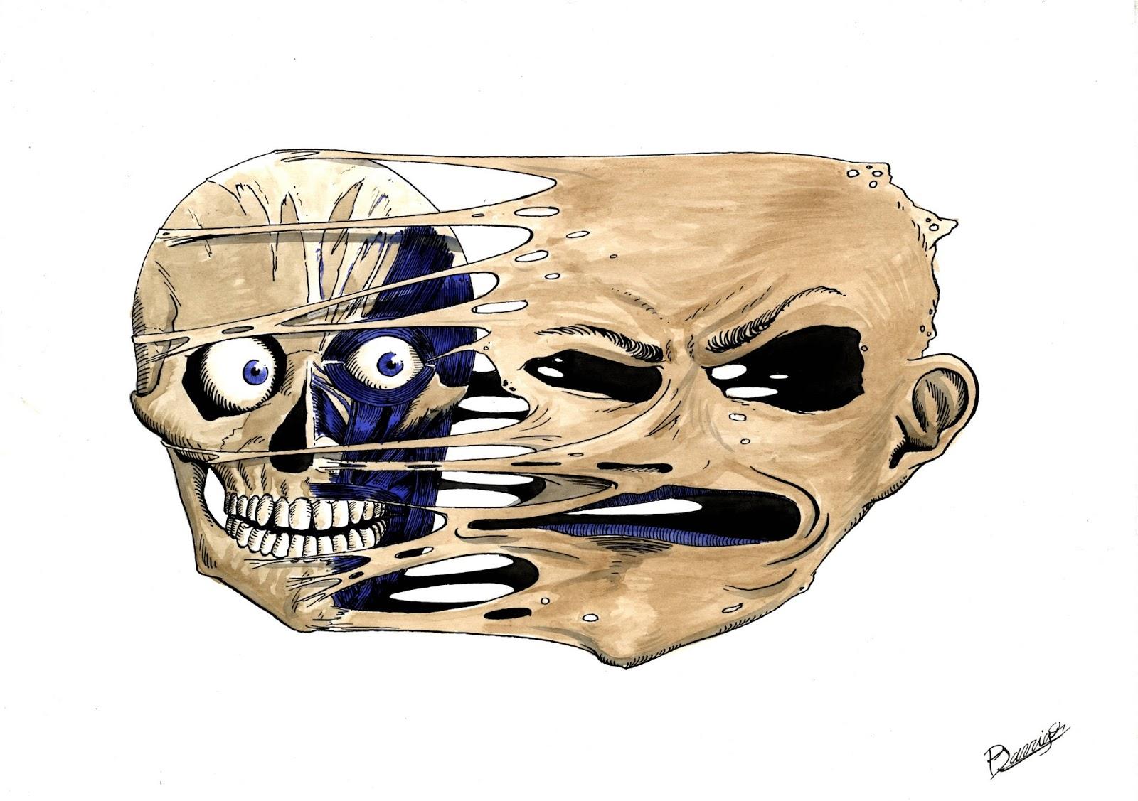 A4 Tinta china, cáscara de nuez, tinta azul - serie Macabre Anatomie
