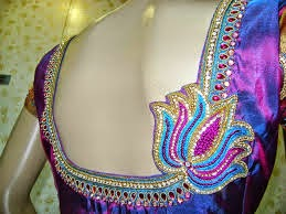 cea5ed5cb184ee Back neck Lotus designer blouse (Embroidery and Maggam Work) for $80