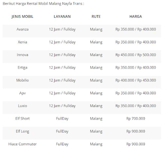 Harga Sewa NAYFA Trans Malang