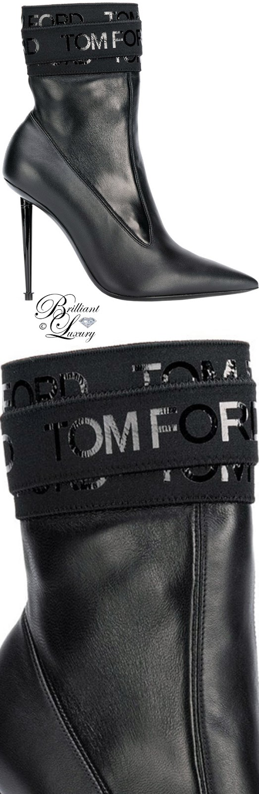 Brilliant Luxury ♦ Tom Ford Logo bandaged pointed ankle boots #black