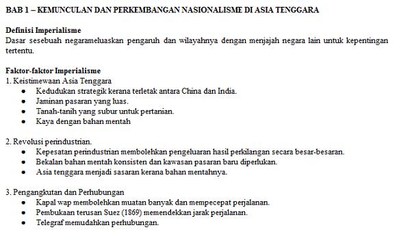 Nota Sejarah Tingkatan 5 Bab Satu (1) lengkap dan terkini