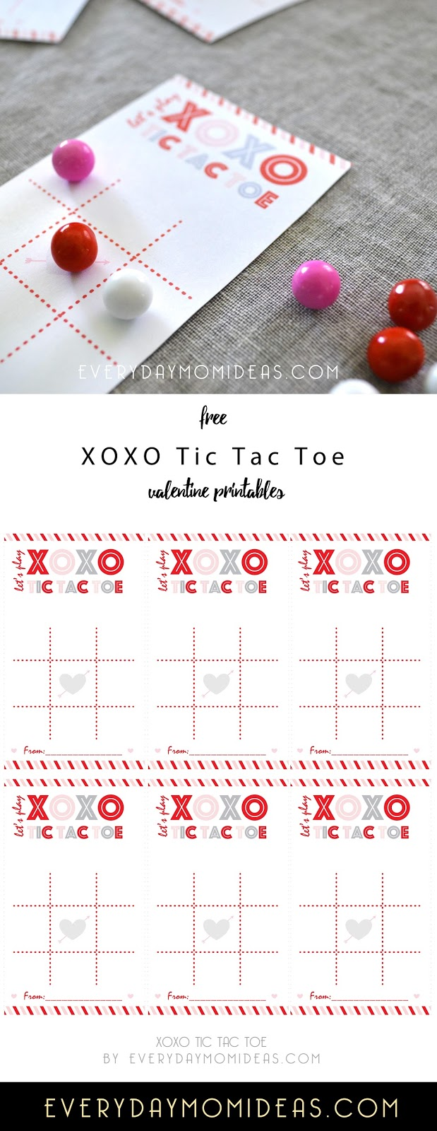 graphic about Tic Tac Toe Valentine Printable titled XOXO Tic Tac Toe (No cost Valentine Printable) - Day by day Mother Plans