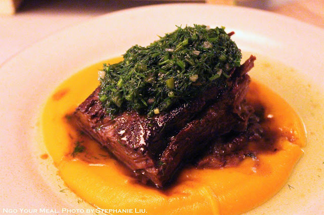 Braised Short Rib at Dinnertable in New York City