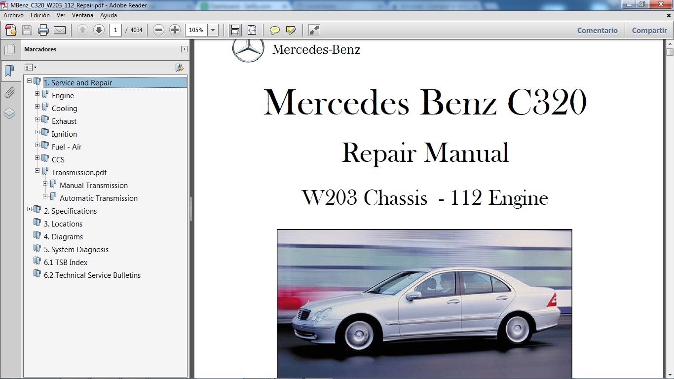 medium resolution of mercedes benz c320 chassis w203 motor 112 gasolina v6 3 2 manual de taller en formato