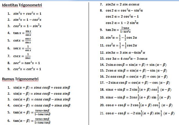 00, 300, 450, 600, dan 900. Rumus Identitas Trigonometri Matematrick