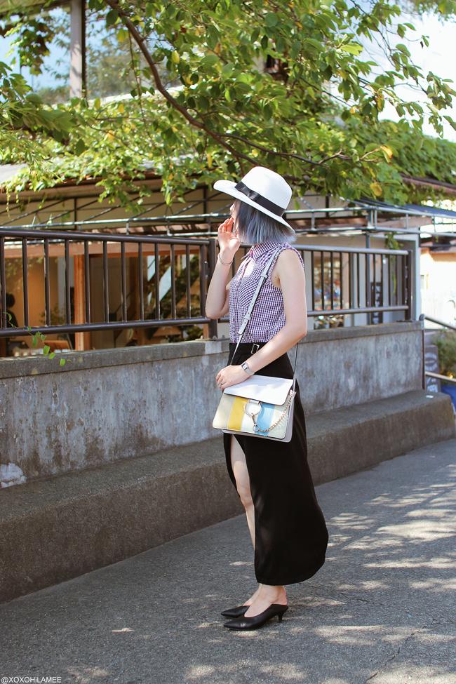 Japanese Fashion Blogger,MizuhoK,20180831OOTD, hand me down=purple gingham non sleeve shirt, CHOIES=black wrap skirt, Rakuten=white hat, black mules, Olivia Burton=bee watch, YoShop=shoulder bag, Kanaho Morisue=brooch