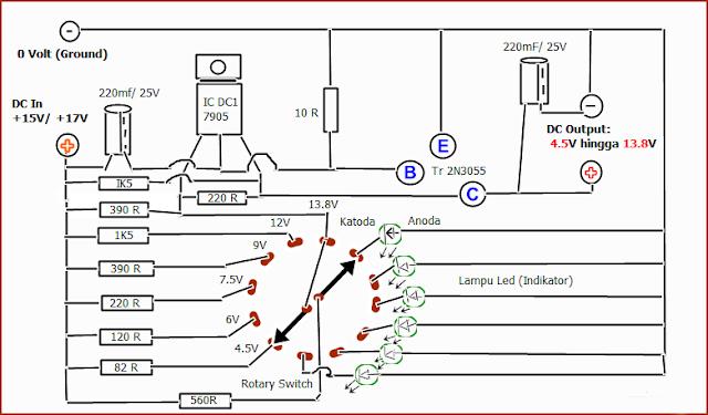Gambar Skema Diagram Rangkaian Stabilizer DC 4.5V - 13.8V untuk Adaptor Rakitan