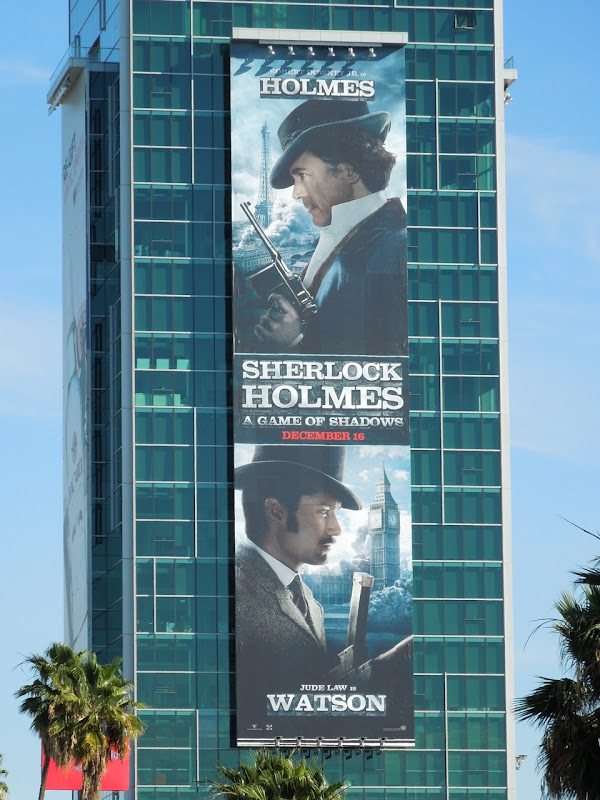 Giant Sherlock Holmes 2 movie billboard