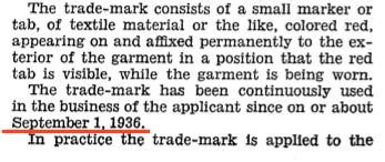 Document shows Levi's Red Tab Trademark has been used since September 1, 1936