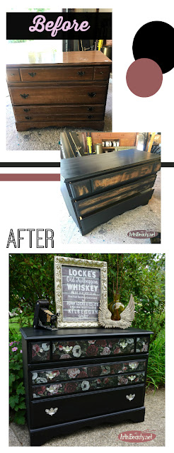 BEFORE AND AFTER PRIMA REDISGN COLOR TRANSFER DARK ROMANCE Vintage maple dresser turned romantic vintage Floral  color transfers and general finishes lamp black milk paint