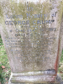 Gravestone for George Crump and his wife  Mary Ann Smith - Claverley churchyard.  (Copyright 2018 Duncan Honeybourne  - used with permission)
