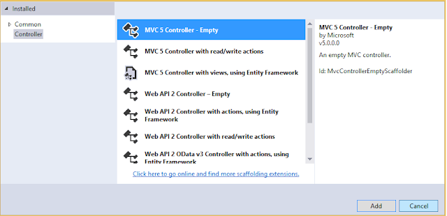 select empty mvc controller to add it in asp.net mvc application