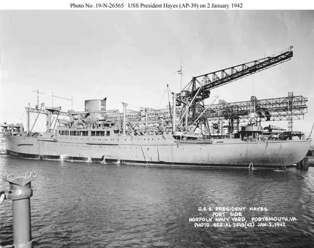 USS President Hayes, 2 January 1942 worldwartwo.filminspector.com