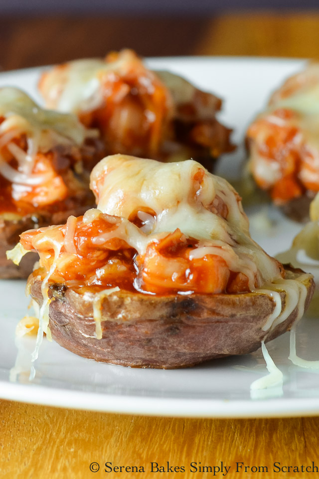 5 Loaded Mini Potato Recipes-Pulled Barbecued Chicken