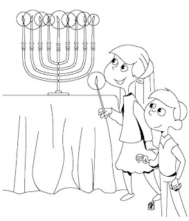 family-menorah-coloring page