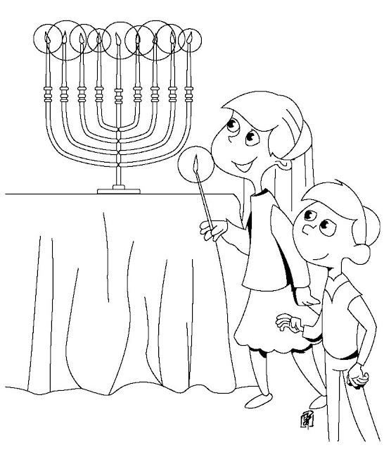 family-menorah-coloring page
