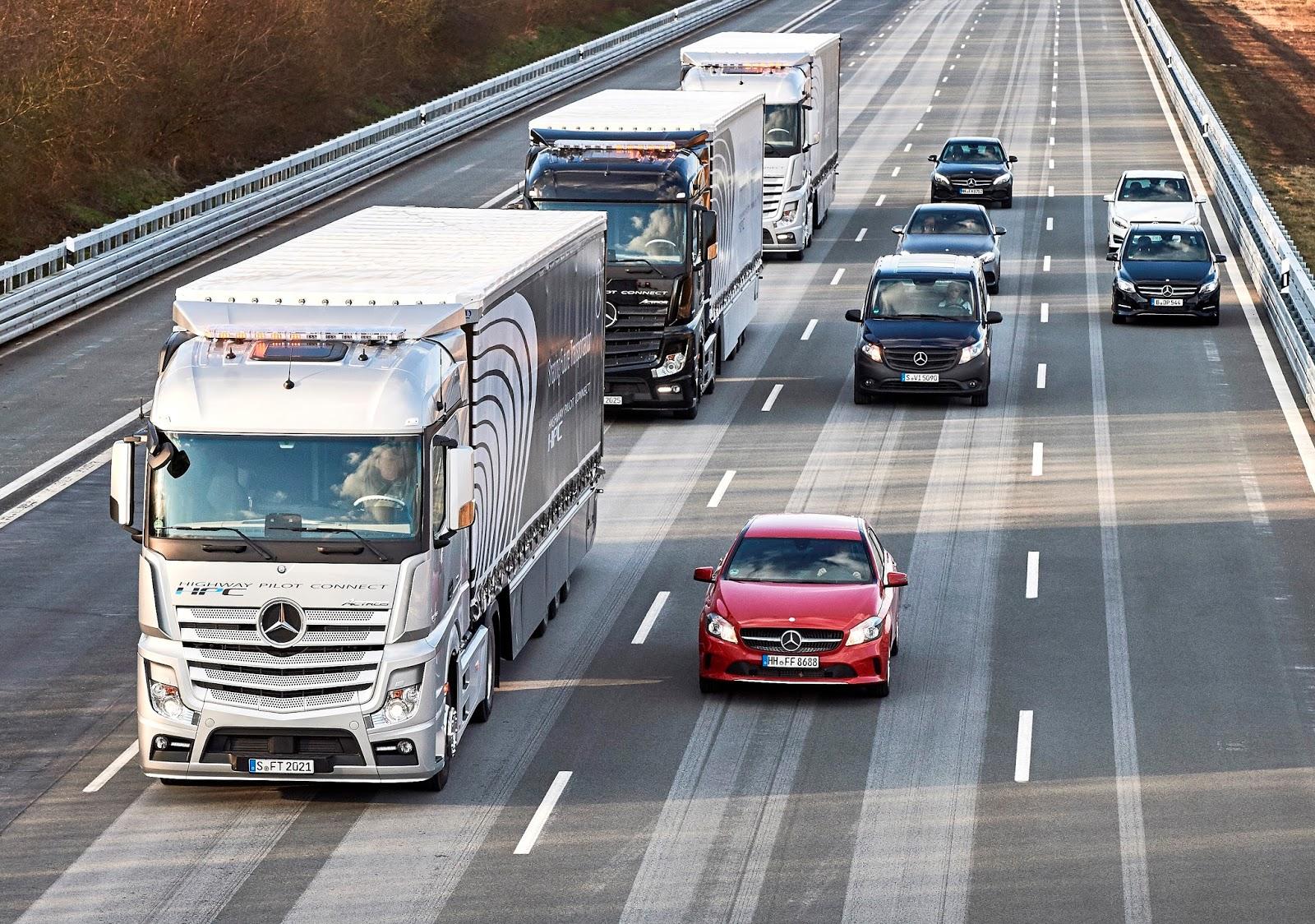 Viaceré spoločnosti testujú Platooning v reálnej premávke