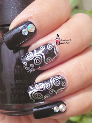 Silver transfer foil nail art