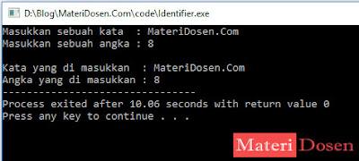 Contoh Identifier dalam C++