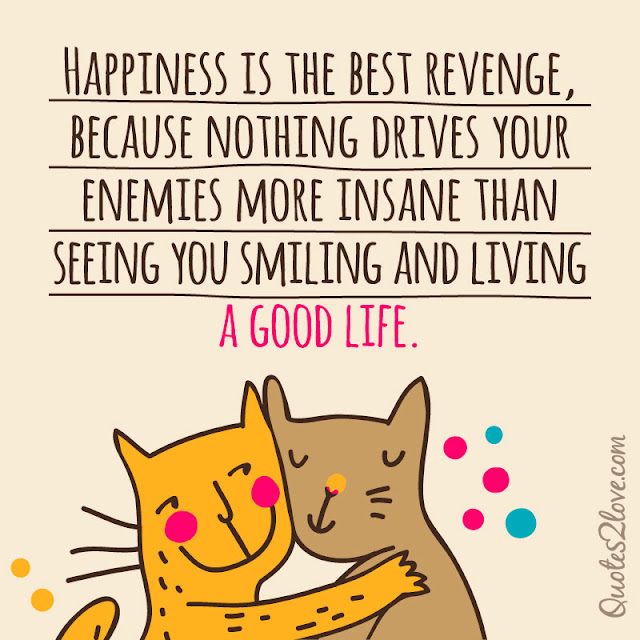 Happiness is the best revenge, because nothing drives your enemies more insane than seeing you smiling and living a good life.