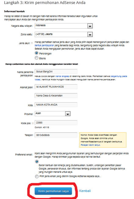 form permohonan adsense youtube
