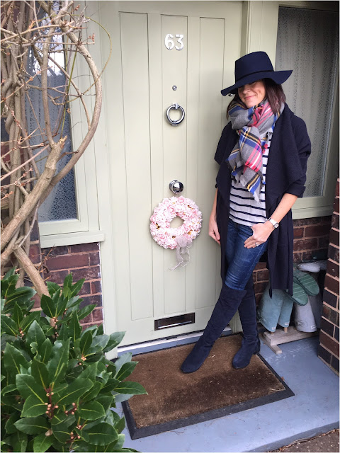 My Midlife Fashion, Zara felt hat, Joules gery check heyford scarf, zara wool draped coat, hush homewear striped jumper, zara skinny jeans, clarks caddy belle over the knee boots