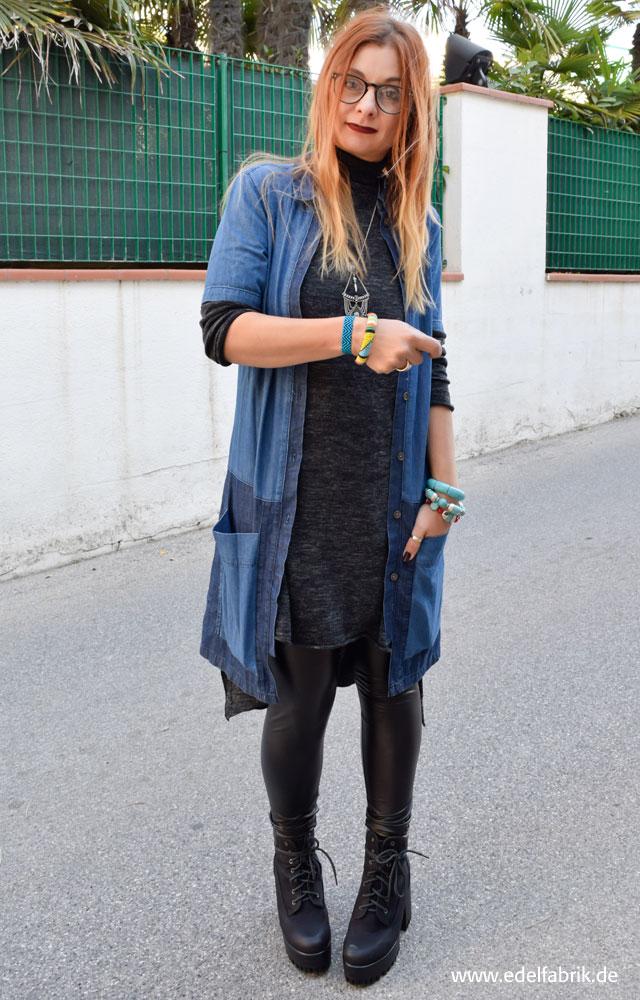 die Edelfabrik, Jeanskleid und Fakeleder Leggings von C&A, Shirt H&M,