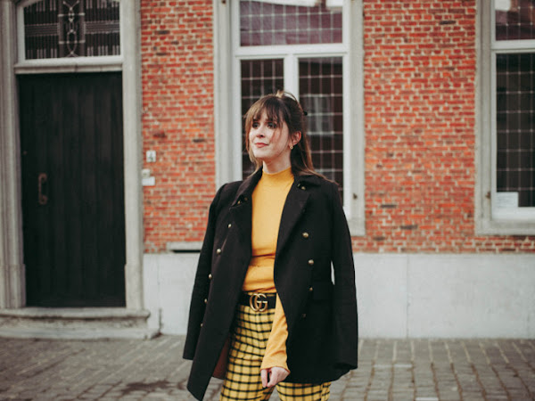 Outfit: yellow plaid trousers, military coat and loafers