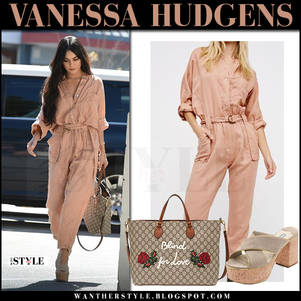 Vanessa Hudgens in pink jumpsuit free people eyals and platform sandals prada what she wore march 2017
