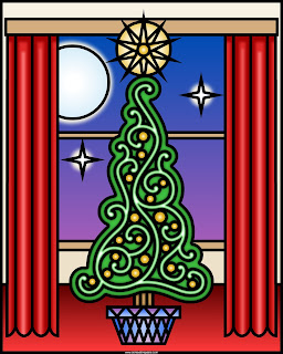 Holiday tree to print and color